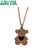 Korean version 18K rose gold plated Scrub bear necklace,titanium steel lovely Clavicle chain,short-chain Accessories gift,JN1315