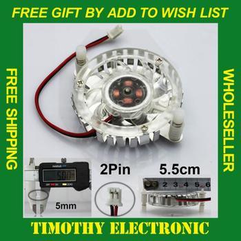Hot! FREE SHIPPING Aluminum Cooling Fan Heatsink Cooler for PC Computer CPU VGA Video Card  55mm 2 PIN White 10PCS/LOT #FS007