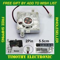 POPULAR IN RUSSIAN FREE SHIPPING 55mm 2 Pin Cooling Fan Heatsink Cooler for PC Computer Laptop CPU VGA Video Card  10PCS/LOT