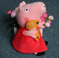 Retail 1pcs Free Shipping Hard wash peppa pig & george pig plush Toys Doll 12.5 inch kids toddler toys