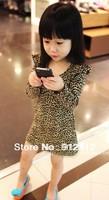 5pcs/lot baby fashion leopard dress girls long sleeve cotton dress spring autumn clothing free shipping