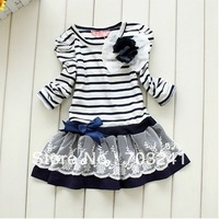5pcs girls striped dresses girl's stripe princess navyblue brown white flower top clothes tops clothing Corsage free shipping