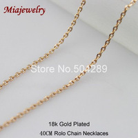 Free Shipping  Rolo Chain Necklaces12PCS/lot 40CM Long Copper With 18k Gold Plated Necklace Fashion Jewelry Chain