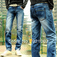 2013 New Korean version washed men's denim trousers Men's Slim Straight jeans sub Free shipping