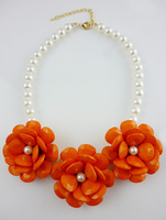 (mix order)Free shipping,NEW Posey Park Statement Necklace! Cost-effective! Flower Pearl Necklace!