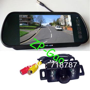 "7"" Car Monitor Mirror Car Rearview Kit  + 7 IR LED Night Vision Car Reverse Reversing camera 10pcs/lot"