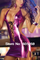 Sexy Pole Dance Party Costumes Patent Leather Nightdress Club Backless Dress For Sex Women new erotic kinomo ul025