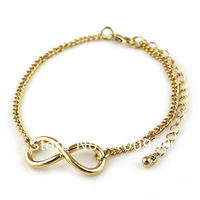 B00-832 10PC/Lot Free Ship Nice Infinity Gold and Silver Charm Alloy Bracelet For 2013 Fashion Jewellery