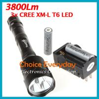 Free Shippong! Super Bright 3800Lm 3X CREE XM-L T6 LED Flashlight Torch+2pcs Batteries+Charger
