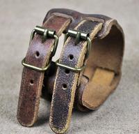 Men's Double-Band Wrap Through Wide Vintage Genuine Leather Bracelet Wristband Cuff Bronze Clasp