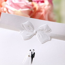 Simple White Lovers with Cute Tie Wedding Invitation Card with Envelopes and Seal, Wholesale Available, New Arrival(China (Mainland))
