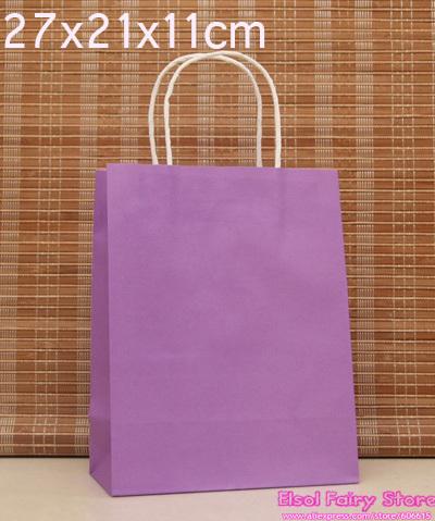 Wholesale 27x21x11cm Purple kraft Paper Bag 30pcs/lot Free shipping kraft shopping bag(Hong Kong)