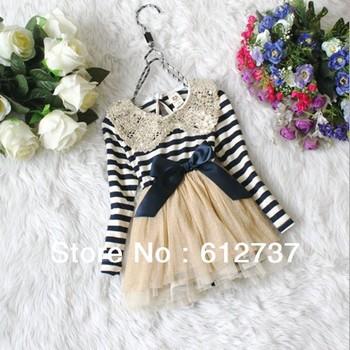 Girl's long sleeve dress Children lace TUTU dress Ball Gown for Baby Net yarn dress sequin Stripe Free shipping(4pcs/lot)