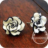 Min Order $12(Mix Items)Korean OL Style Fashion Sweet Rose Flower Earring Stud Silver Plated Earrings for Women Jewelry