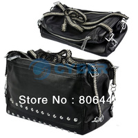 Women's Girl Simple Smart Double Chain Rivet Bag Handbag Fashion Shoulder Bag Free Shipping 12113