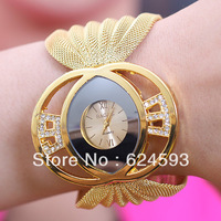 Free shipping 3 luxurious big diamond color mirror quartz watch women gift