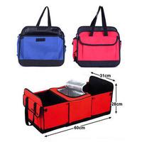 Auto supplies car trunk multi purpose dual-order box cooler box folding storage bin red blue