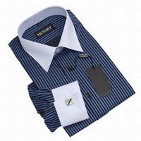 Fashion Stylish Stripe Cotton Dress Shirts Men Long Sleeve Shirt French Cuff Mens Dress Shirts
