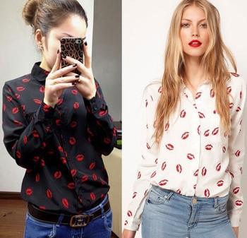Spring Summer Autumn New Fashion Womens Hot Red Lip Printed Chiffon Blouse Elegant Casual Slim Design Free Shipping RL01