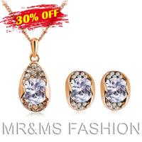 Free Shipping 2013 Best Gift TOP GRADE Austrian CRYSTAL Zircon Pendant 18K GP Chain Necklace Earrings Fashion Jewelry Set 239