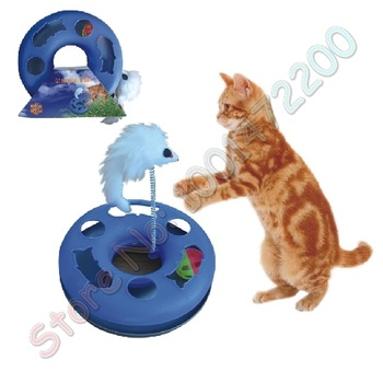"Free Shipping 9"" Pet Cat Happy Circle Spring Toy Training Plastic Toys Product W/Plush Mouse Toy"