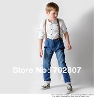 2013 new fashion Children Boy Bib Girl jeans baby boys child jeans Detachable strap trousers casual pants flanging