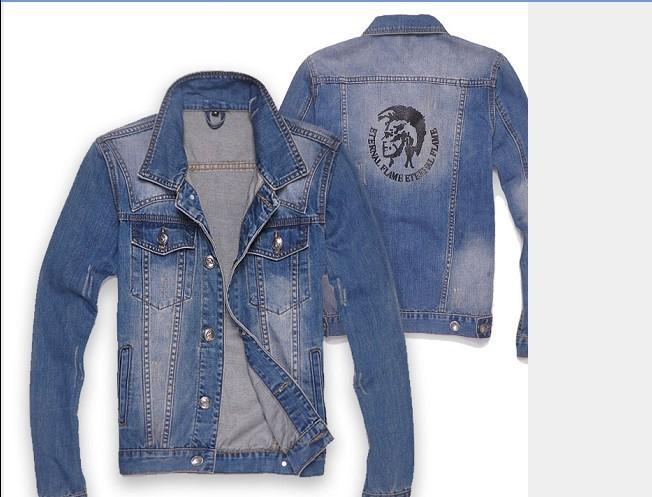 Free shipping wholesale fashion 2013 latest fashion slim man denim jacket jeans denim jacket(China (Mainland))