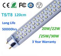4pc/lot T5/T8 1500mm 150cm 20w/22w/25w/30w high lumen 3 years warranty free shipping
