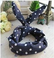 women's fashion Cute Rabbit Ear Ribbon Denim Headband Hair Band 10Pcs/Lot wholesale