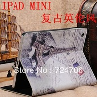 Free shipping EMS/DHL Newest Retro Style Flag Tower Stand PU Leather Case for iPad Mini