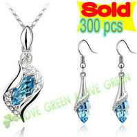 Free Shipping wholesales 18K White Gold Plated Austrian Crystal Eyes Pendant Necklace Earrings Bracelet fashion Jewelry Set 523