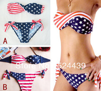 Free Shipping 2013 Sexy Women Summer STARS And STRIPES USA Flag Bikini PADDED TWISTED BANDEAU Tube AMERICAN Swimwear.Beachwear