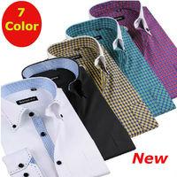 New  2014  men  Business casual slim fit  shirt long  Sleeve  Brand formal  synthetic  XS S M L  XL XXL XXXL