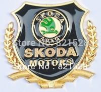 2pcs Luxurious SKODA Car Side 3D Gold wheatear Emblems Superb Octavia Fabia RS