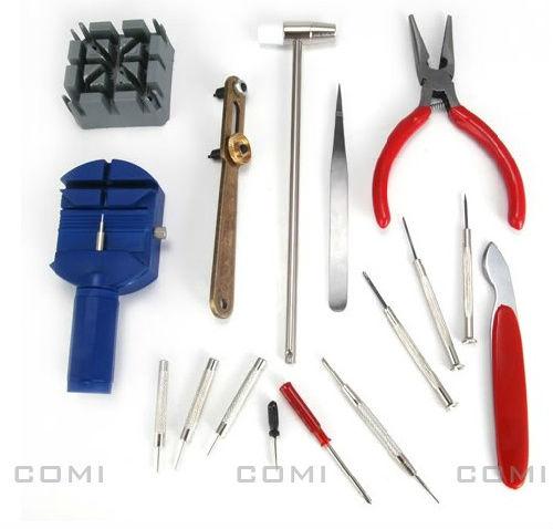 Freeshipping 16 Pcs Case Opener Band Pin,Multi-functional Watch Link Remove Repair Tool Kit Set Screwdriver Plier Tweezer Hammer(China (Mainland))