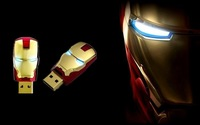 Wholesale Hot sale Fashion Avengers Iron Man LED Flash 4GB 8GB 16GB 32GB USB Flash 2.0 Memory Drive Free Shipping