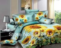 Fancy 100% cotton personalized 3d oil ink printed bedding 100% cotton four piece set gold sunflower queen duvet cover bedding