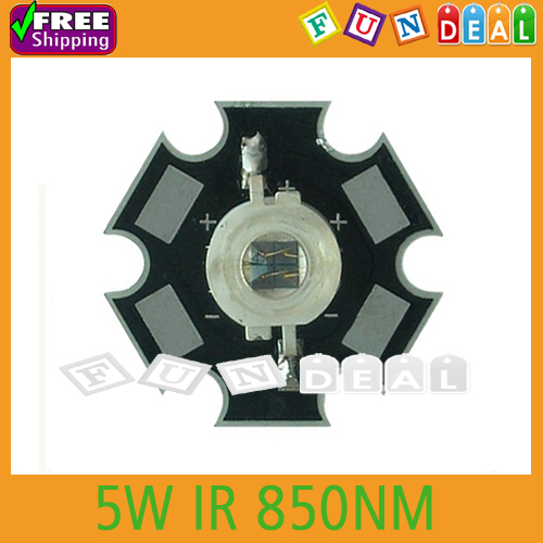 Free shipping! 5W Infrared IR 850NM High Power LED Bead Emitter with 20mm Star Platine Base for aquarium light DIY Wholesale(China (Mainland))