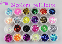 Excellent Quality Hexagon Paillette 4mm Size 24colors/set Decoration Nail Art Care Tips For Fashion Salon Nail Beauty Desgin 521