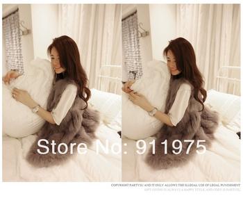 2014 spring women's elegant luxury medium-long fur vest outerwear overcoat free shipping
