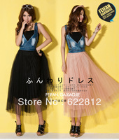 Free Shipping 2013 Summer New Korean Version Of The Denim Yarn Pleated Stitching Strap Jumpsuit Dress
