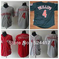 Free Shipping Cincinnati Reds Brandon Phillips #4 Cool Base Jersey 100% stitched baseball jersey