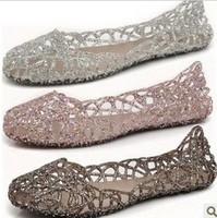 2013 summer breathable crystal bling plastic jelly shoes cutout flat heel bird nest mesh bird nest female flat sandals