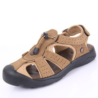 2014 New Camel Summer Cowhide Outdoor Shoes Male Toe Cap Covering Sandals Men Outdoor Sandals