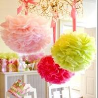 "10pcs 14"" 35CM Tissue Paper Pom Poms Flower Balls Wedding Party Shower Decoration Mix colors uPick  Free shipping"