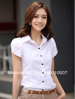 Sale - Hot Ladies 116 Solid Color Bubble Short-Sleeved Lapel OL Commuter Slim Woman Business Shirts