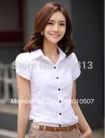 Sale - Hot Ladies 116 Solid Color Bubble Short-Sleeved Lapel OL Commuter Slim Woman Business Shirts