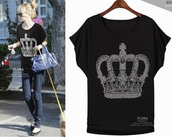 fashion sparkling diamond queen style loose round neck T shirt women 2013 new dress Tops & Tees(China (Mainland))