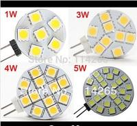 G4 1W 3W 4W 5W Home Car RV Marine Boat LED Light Bulbs Lamp 6 leds 9 leds 12 leds 24 leds 5050 SMD 12V Free Shipping