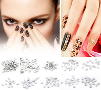 (MIn Order 3 Lots) Free Shipping 1000pcs/lots Aluminium Tone Metallic Nail Art Decoration  Rhinestone 3D Studs Tips W0279